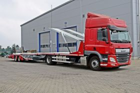 AUTOTRANSPORTERZUG  für 6 PKW Typ DS12 6Z , auf Basis LKW ab 12t  Doppelstockaufbau und Zentralachsanhänger