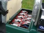 Melex Typ 845: Batterien sicher unter dem Fahrersitz verstaut.