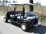Melex Typ XTR+ 964: Optional auch mit Variobank erhältlich, Rücksitz als Ladefläche umpklappbar.